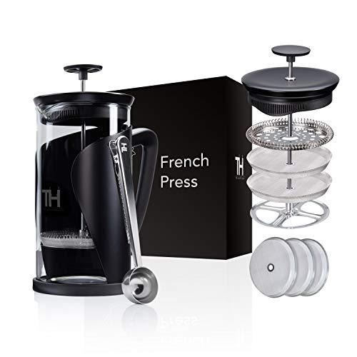 Thiru French Press – Cafetera de émbolo con sistema de filtro 4D, acero inoxidable y cristal (1 L)