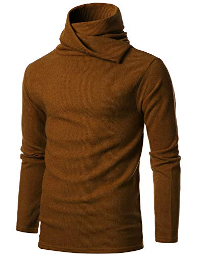 GIVON Mens Slim Fit Soft Cotton Blend Abundant Turtle Neck Pullover ()