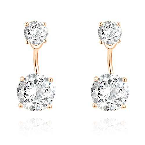 PAVOI 14K Rose Gold Plated Sterling Silver Post Cubic Zirconia Stud Earrings with Enhancer -