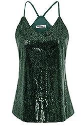 Deep Green Sequin Sleeveless Camisole Tank Top