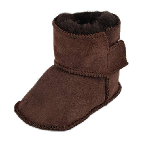 Bebila Genuine Sheepskin Baby Snow Boots Warm Winter First Walker Toddler Shoes for Boys and Girls (US 6/5.12
