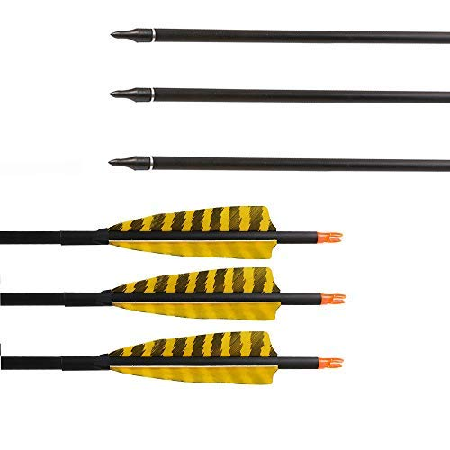 Huntingdoor 32-Inch Carbon Arrows with 4-Inch Feather Fletching Replaceable Points Hunting Arrows Targeting Arrows Spine 400 for Recurve Bow Longbow Hunting Bow(Pack of 6) (Yellow)