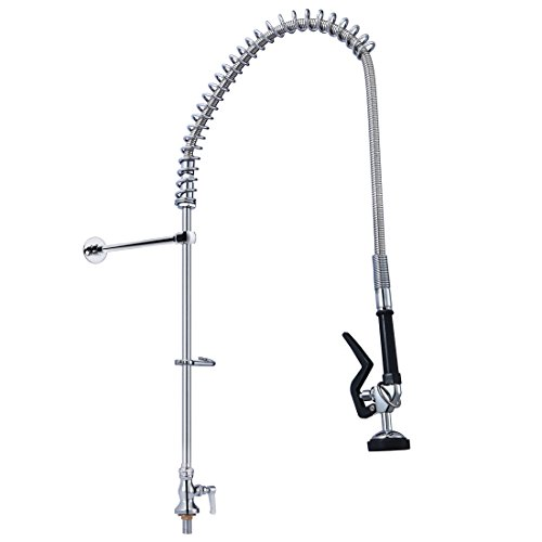 MS Deck Mount Single Handle Pull Out Spray Pre-Rinse Unit Chrome Polished Commercial Restaurant Kitchen Faucet ()
