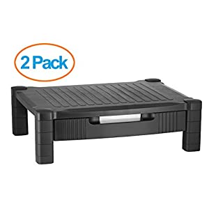Halter 2 Pack Of LZ-302A Monitor Stand / Monitor Riser with Pull Out Drawer and Cable Management - Black