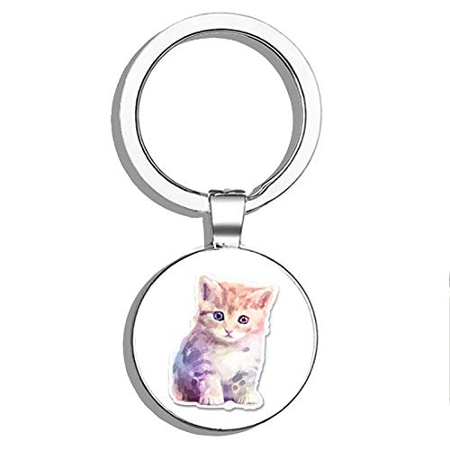 Glover Trading Cute Watercolour Kitten Round Steel Metal Key Chain Keychain Ring Double Sided Deisgn