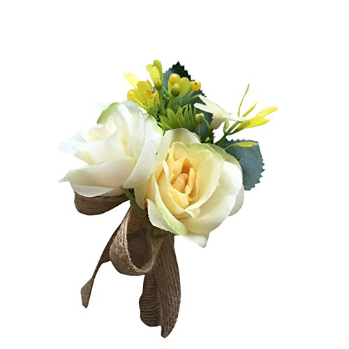 Boutonniere para novios hombre unidades) seda rosas boda flores ...