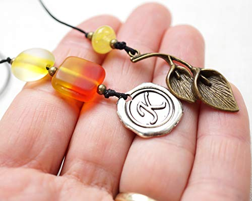 Custom Beaded Bookmark Orange Yellow Hombre Glass Beads with bronze calla lily Initial Wax Seal Letter Unique Personalized Gift for Men Women Reader Handmade and Crafted by - Bronze Lilies Calla