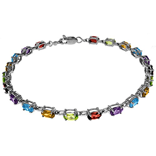 ALARRI 5.46 CTW 14K Solid White Gold Tennis Bracelet Multi Gemstones Size 8 Inch Length by ALARRI