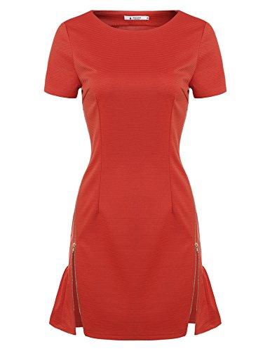 O Vestito A Casuale Arancione Manica Collo Angvns Solido Donne Corta Dritto Pullover xSgwfXq