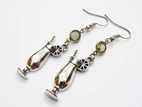 Personalized Tropical Drink Earrings, Alcohol Birthstone Earrings, Tiki Earrings, Bartender Cocktail Charm Jewelry