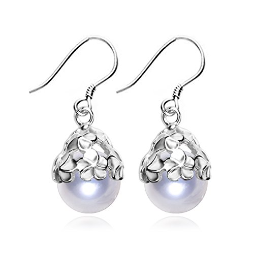 LSOOYH Round Shell Pearl Flower Clearance Earrings Classic Dorps LongEarringsForWedding Anniversary Bridal (White) -