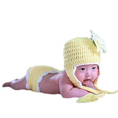 UOMNY Baby Newborn Photography Props Sunny Flower Handmade Crochet Knitted Unisex Baby Cap Outfit Photo Props