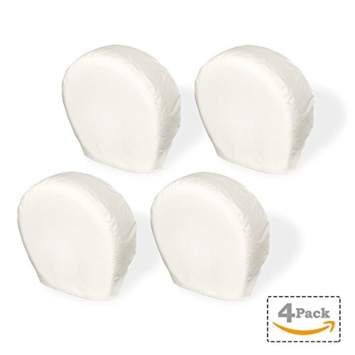 Explore Land Tire Cover, For Jeep, Truck, SUV, Trailer, Camper, RV, Tough Vinyl Wheel Protector, Universal Fit, 4 Pack, Off-White (L (Fits Tire Diameters 29''-31.75''))