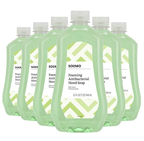 (Amazon Brand - Solimo Gentle & Mild Fresh Pear Antibacterial Foaming Hand Soap Refill, 32 Fluid Ounce (Pack of 6))