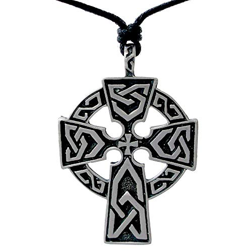 OhDeal4U Celtic Triquetra Cross Pewter Pendant Charm Amulet Necklace Chain Choker (Black Adjustable Cord) ()