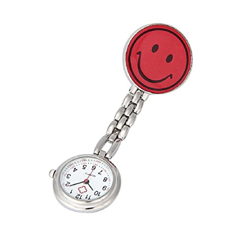 Lookatool® Nurse Clip-on Fob Brooch Pendant Hanging Smile Face Watch Pocket Watch (Red)