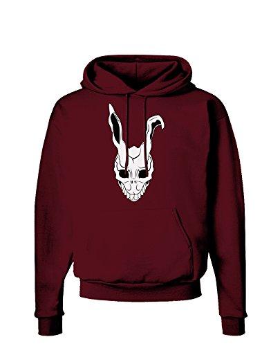 TooLoud Scary Face Bunny White Dark Hoodie Sweatshirt - Maroon - -