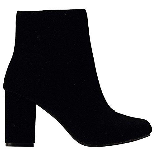 Rock and Rags Womens Velvet Heeled Boots Ankle Zip Chunky Heel Colour Block Black 5urUy1BK