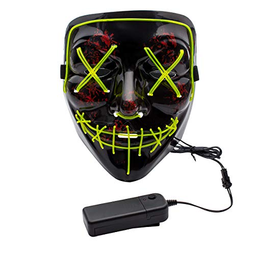 Apipi Halloween LED Light up Mask-Frightening EL Wire Cosplay Mask for Christmas Festival Parties(Green)]()