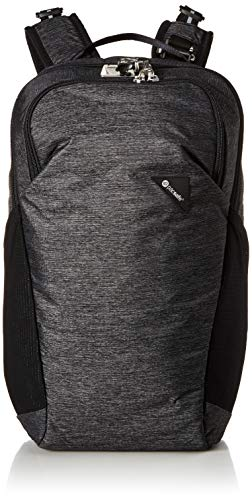 Womens City System Jacket - Pacsafe Vibe 20 Liter Anti Theft Travel Daypack - Fits 13 inch Laptop, Lightweight - with Lockable Zippers, Granite Melange Grey