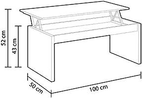 Habitdesign 0L1638A- Mesa de Centro elevable Modelo Zenit, mesita ...