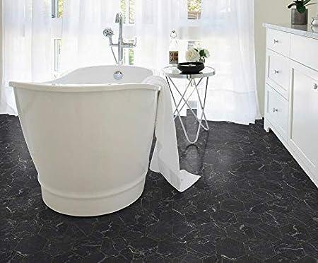 Breite: 200 cm x L/änge: 100 cm PVC Bodenbelag Fliese Marmor Schwarz Tarkett 260D Hexagon Gold 14,90 /€ p. m/²
