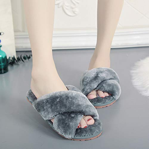 Husmeu Women's Cross Band Fuzzy Slippers Open Toe Comfy Soft Plush Rubber Sole House Shoese Indoor Outdoor Slip on Slipper Camo