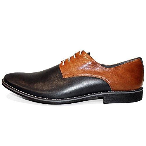 PeppeShoes Modello Waserro - Handmade Italiennes Cuir Pour des Hommes Black Chaussures Oxfords - Cuir de Vachette Cuir Gaufré - Lacer