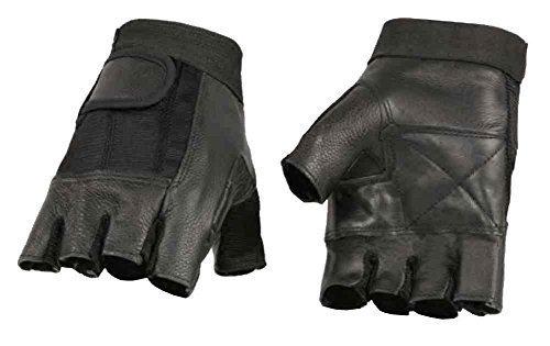 Milwaukee Leather Men's Leather Mesh Combo Fingerless Gloves, Black SH217 (M)