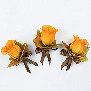 4 pcs Orange Silk Rose Boutonniere with Fall Maple Leaves - Autumn Wedding Flowers 113