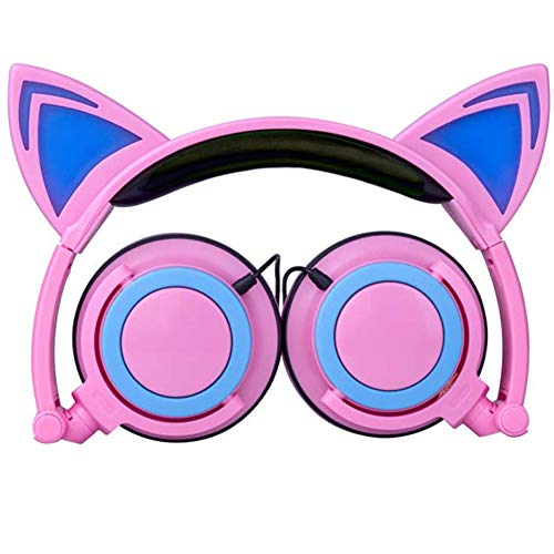 MIS1950s Foldable Cat Ear Headphone LED Music Lights Earphone Headset for Laptop, MP3,PS4 (C) (Best Size Tv For Gaming Ps4)