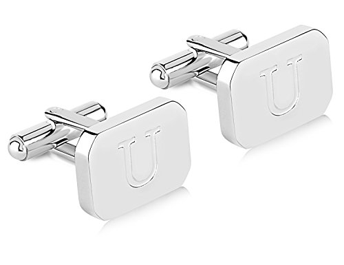 Lux White-Gold Plated Monogram Initial Engraved Stainless Steel Man's Cufflinks Gift Box -Personalized Alphabet Letter's Pier (U- White Gold) ()