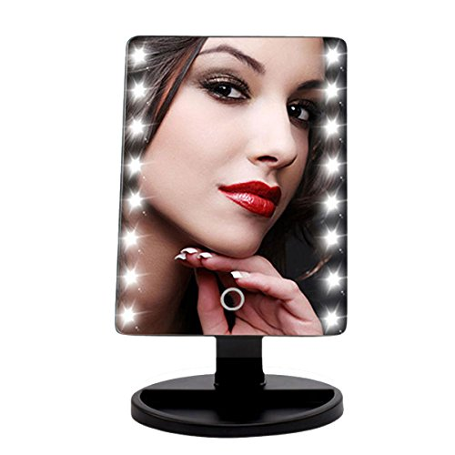 LED Lighted Makeup Mirror, KOZYHOUSE Cordless Vanity Set, Touchable Screen with Brightness Adjustable Vanity Makeup Mirror Lighted for Waxing, Flossing, Christmas Gift (Black, 1 Pack) (1 Christmas Gifts)