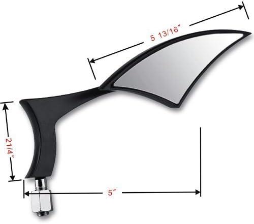 2X Black Aluminum Blade Spear Rearview Side Mirror Compatible with Motorcycle Cruiser Chopper Street Standard Bike Suzuki B-King