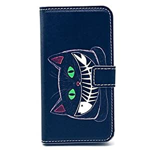 WQQ Cat Fish Pattern PU Leather Full Body Case with Card Slot for Samsung Galaxy S5 I9600