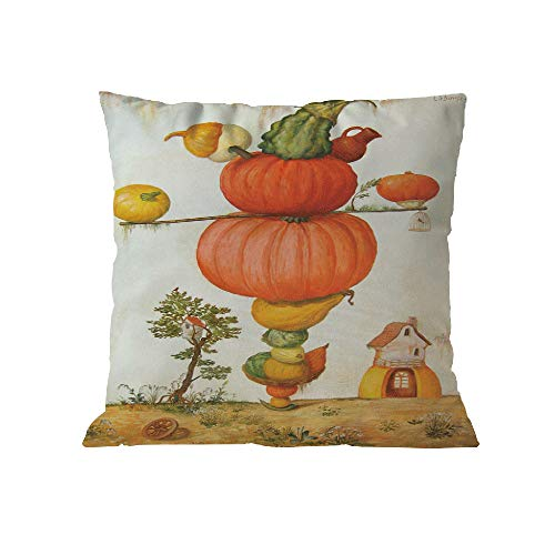 WFeieig_Halloween Lined Linen Cushion Cover Square Throw Pillows Case for Sofa Bench Couch, Baby Pink, 18