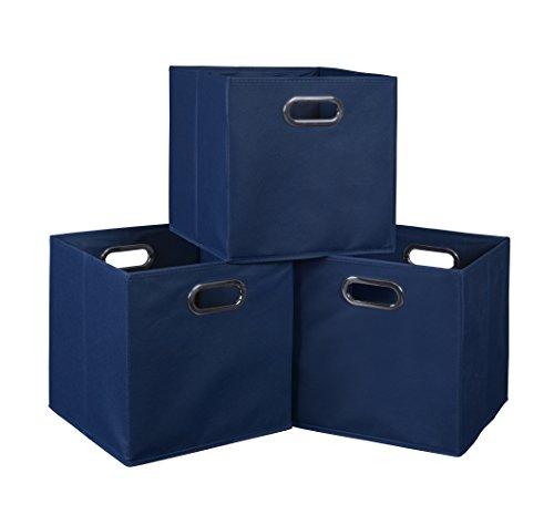 Set of 3 Cubo Foldable Fabric Bins- Blue