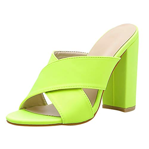 WFeieig High-Heeled Slippers Candy Colors Ladies Ankle Strap Pump Sandals Summer Bar Party Shoes Sexy Slippers (Best Pleaser Mens Sneakers)