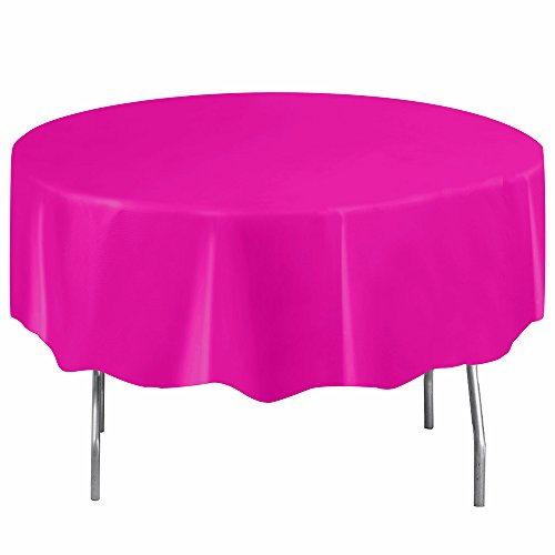 Round Neon Pink Plastic Tablecloth, 84""