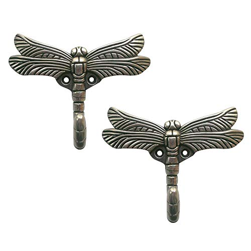 LEICHI 2pcs Dragonfly Hooks Antique Silver Clothes Hook Robe Hooks for Door Coat Hanger Wall Mounted Clothes Rack