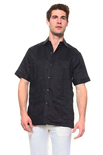 Mojito Mens 100% Linen 4 Pocket Guayabera Shirt Black ()