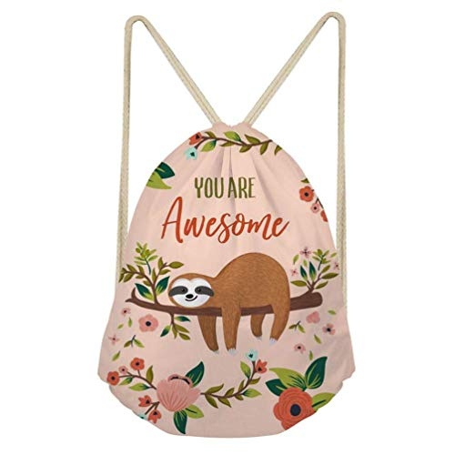 Dzulife Sloth Drawstring Backpack Sackpack Gym Sack Sport Beach Daypack for Women Teen Girls Cycling Dance Bag Floral Pink - Junior Drawstring Backpack