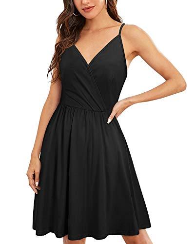 VOTEPRETTY Women's V-Neck Spaghetti Strap Dress Summer Casual Swing Sundress with Pockets 4