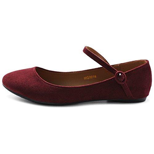 Ollio Womens Shoe Ballet Light Faux Suede Mary Jane Flats Wine d37W7oA