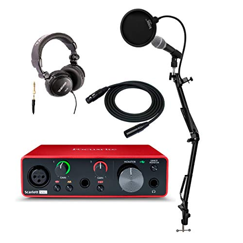 Focusrite Scarlett Solo 3rd Gen USB Audio Interface Bundle with Microphone, Knox Studio Stand, Pop Filter and Headphones and XLR Cable (6 Items)