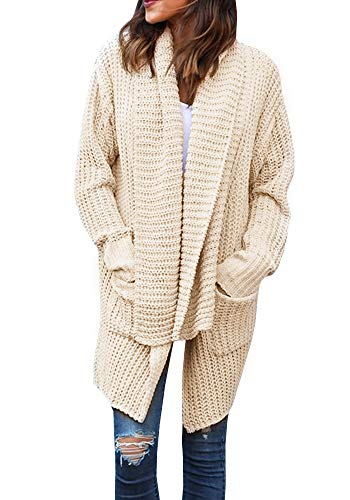 Valphsio Women's Boho Long Sleeve Open Front Chunky Warm Cardigans Pointelle Pullover Sweater Blouses