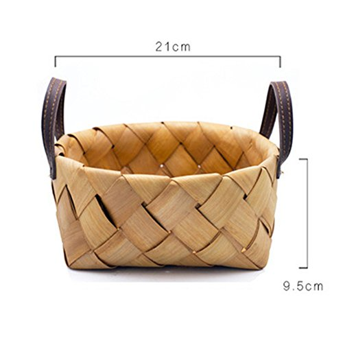 CLSstar Handcrafted Woven Wooden baskets Planter with Handles, Food Serving Baskets, Set of 2