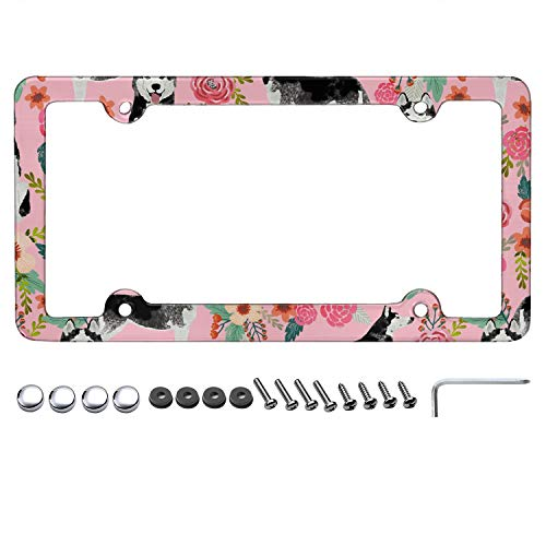 MDFJIEJWIF License Plate Frame for Men's/Womens' Husky Dog Pink Floral License Plate Frame for All Standard US Customized Plate Frame Screws Included