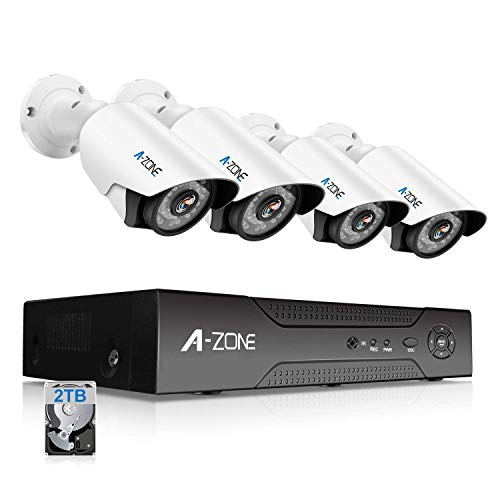 (A-ZONE Security Camera System 4 Channel 1080P DVR 4 x 960P HD Waterproof Night Vision Indoor/Outdoor Home CCTV Video Wired Surveillance Kits, Customizable Motion Detection,Pre-installed 2TB HDD)