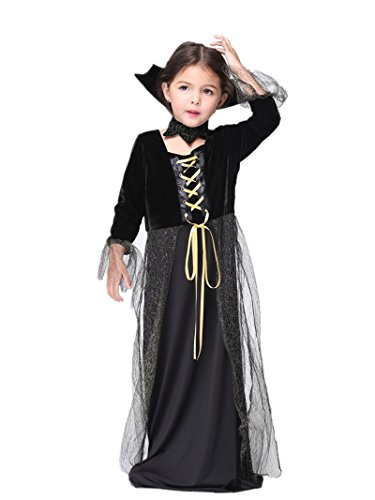 C.X Trendy Kids Girls' Spiderella Costume Gothic Vamp Costumes (L(6-7), Black)